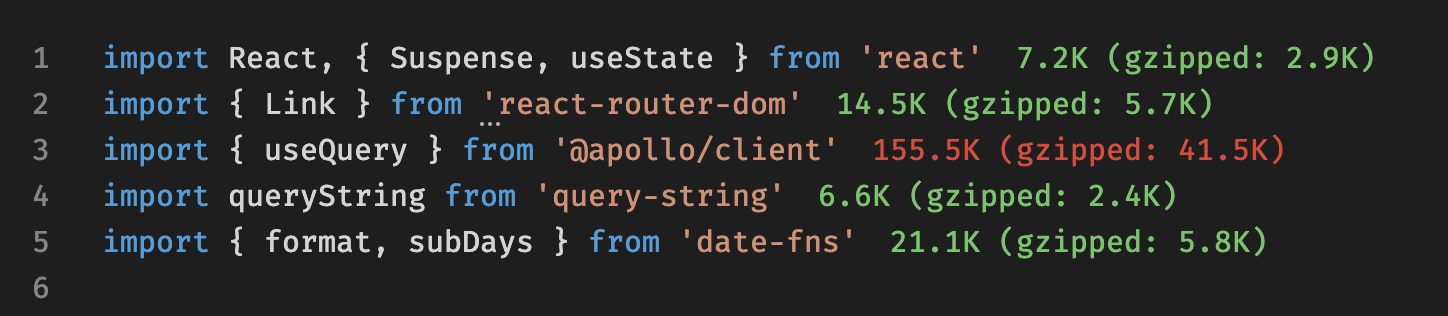 Import cost plugin in Sublime or VSCode reporting the size of third-party libraries as you code.
