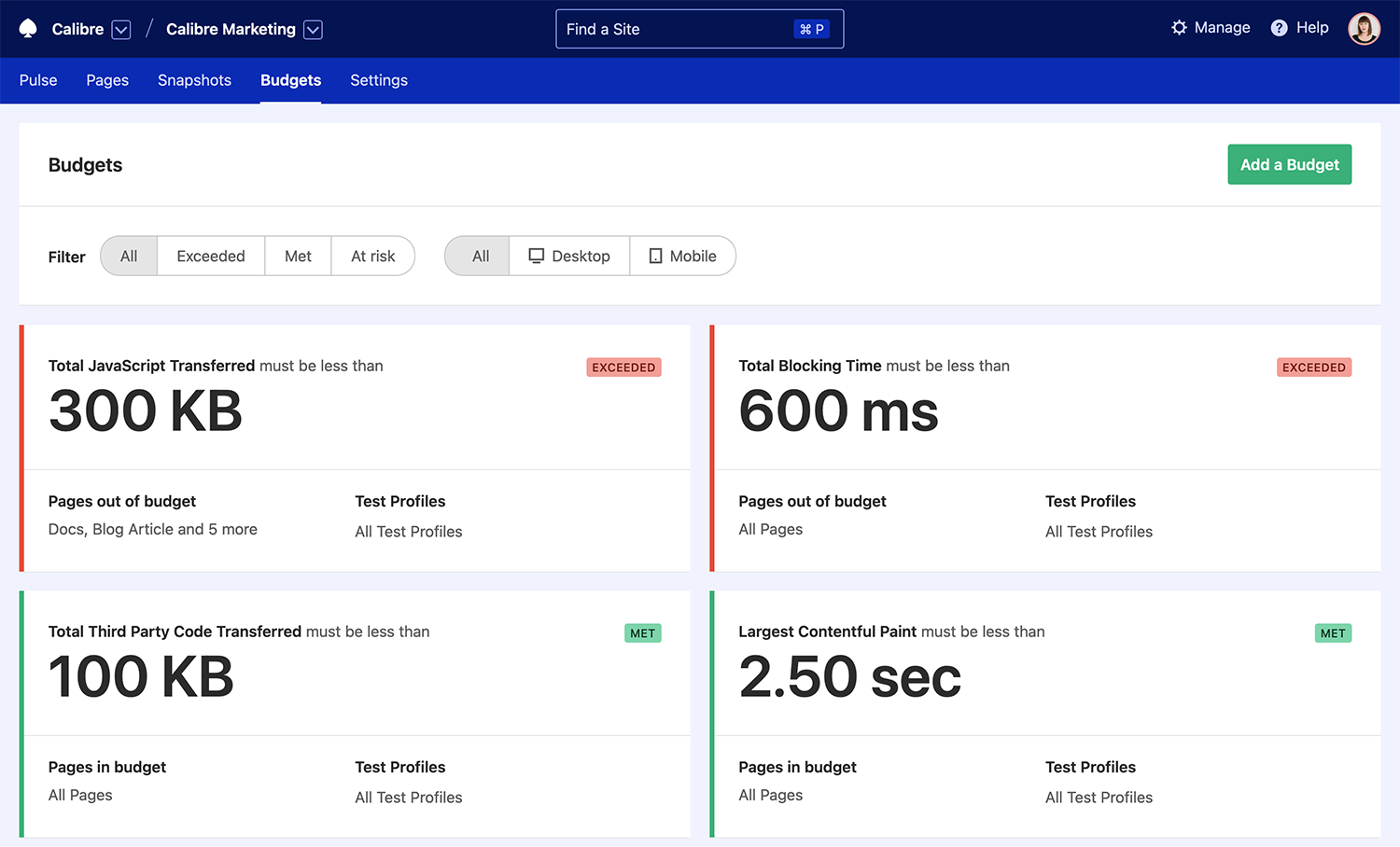 Performance Budget dashboard in Calibre showing JavaScript metrics in and out of budget.